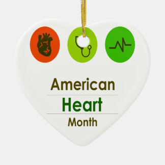 February - Heart Month Ceramic Ornament