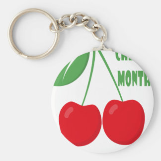 February is Cherry Month - Appreciation Day Basic Round Button Keychain