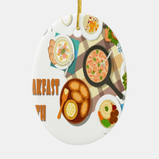 February is Hot Breakfast Month Ceramic Ornament
