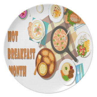 February is Hot Breakfast Month Dinner Plates
