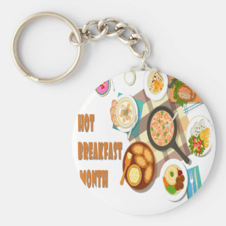 February is Hot Breakfast Month Keychain