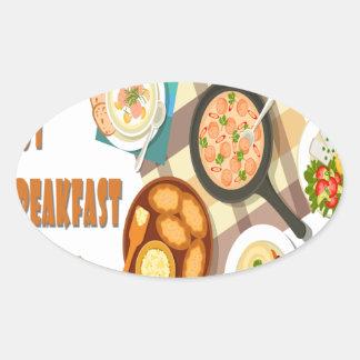February is Hot Breakfast Month Oval Sticker