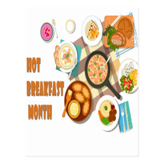 February is Hot Breakfast Month Postcard
