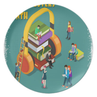February is Library Lovers' Month Appreciation Day Plates