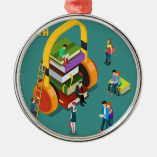 February is Library Lovers' Month Appreciation Day Silver-Colored Round Ornament