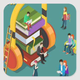 February is Library Lovers' Month Appreciation Day Square Sticker