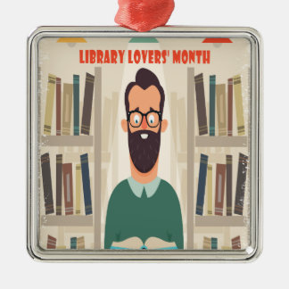 February - Library Lovers' Month Appreciation Day Metal Ornament