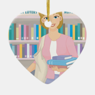 February - Library Lovers' Month Ceramic Ornament
