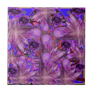 FEBRUARY PURPLE AMETHYST CRYSTALS & GEMS TILE