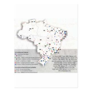Federal net in Obras_Municípios map of Brazil Postcard