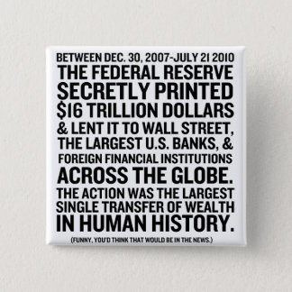 Federal Reserve Audit 2 Inch Square Button