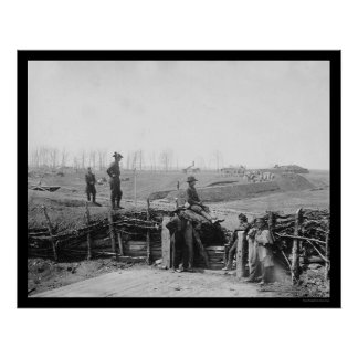 Federal Troops at Enemy Fort in Manassas, VA 1862 Poster