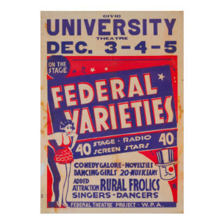 Federal Variety Acts 1937 WPA Vintage Poster