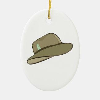 Fedora Hat Ceramic Ornament