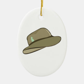 Fedora Hat Ceramic Oval Ornament