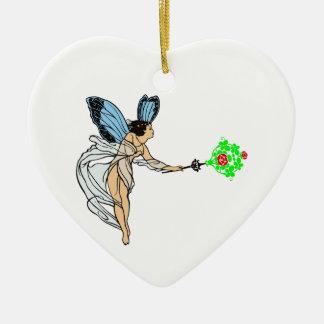 Fee fairie ceramic heart ornament