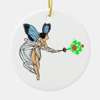 Fee fairie round ceramic ornament