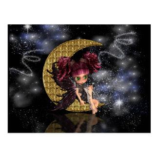 Fée mignonne de lune de carte postale magique peti