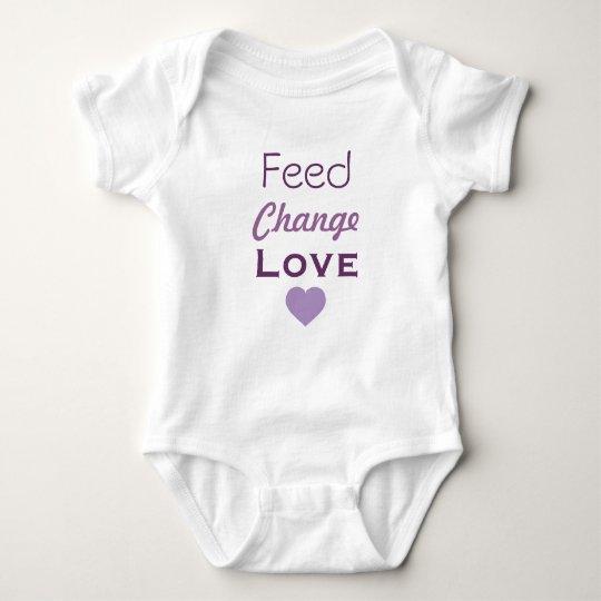 Feed Change Love Lavender Heart Baby Bodysuit
