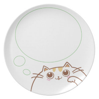 Feed Me! (Lovely Cat with Thinking Bubble white) Dinner Plate