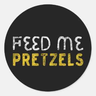 Feed me pretzels classic round sticker