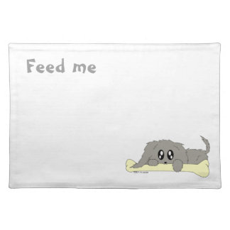Feed Me Puppy Dog with Bone Food Water Placemat