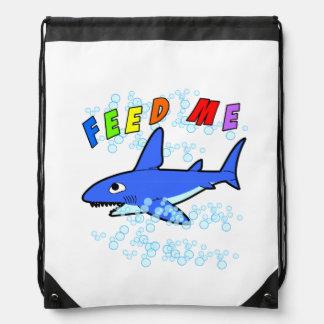 Feed Me Shark Drawstring Backpack