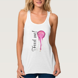 """Feed me"" sign with pink watercolor flamingo Tank Top"