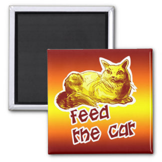 feed the cat british shorthair cartoon magnet