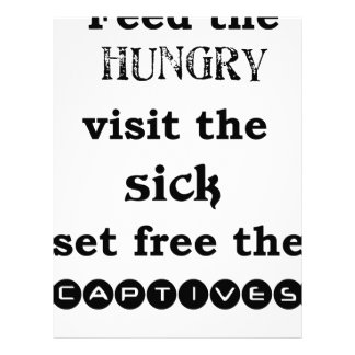 feed the hungry visit the sik set free the captive letterhead