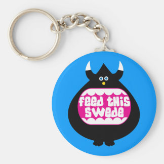 Feed this Swede funny gifts Basic Round Button Keychain