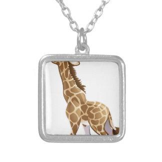 Feeding Giraffe Animal Cartoon Character Silver Plated Necklace