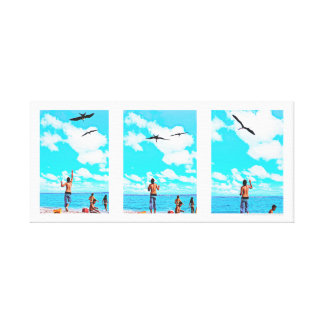 feeding seabirds in Morrocoy, Venezuela Canvas Print