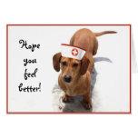 Feel better Dachshund nurse greeting card