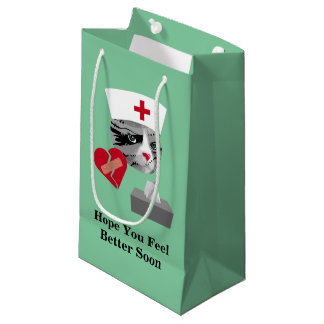 Feel Better Soon Nurse Cat Small Gift Bag