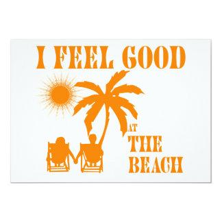 "Feel good at the beach 5"" x 7"" invitation card"