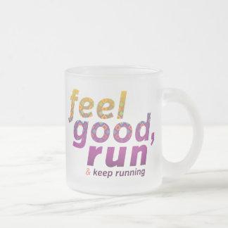 Feel Good RUN - FATNOMORE Runner Inspiration 10 Oz Frosted Glass Coffee Mug