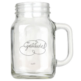 feel GRATITUDE - Bold CloudS Mason Jar