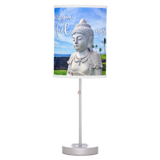 """Feel Most Alive"" Quote Hawaii White Buddha Photo Table Lamp"