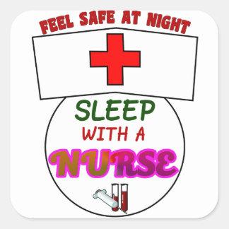 feel safe night sleep nurse, gift for nurses shirt square sticker