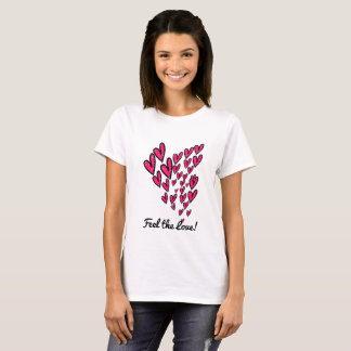 Feel the love pink and black design T-shirt