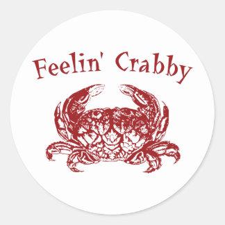 Feelin' Crabby Classic Round Sticker
