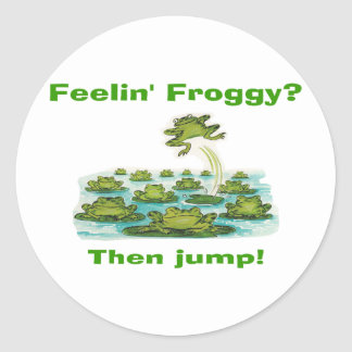 feelin froggy classic round sticker