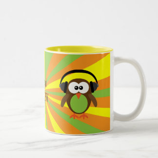 Feelin' Groov Retro Owl & Headphones Psychedelic Two-Tone Coffee Mug