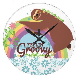 Feelin groovy funny sloth retro hippie rainbow large clock