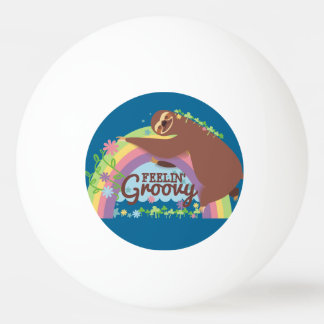 Feelin groovy funny sloth retro hippie rainbow ping pong ball