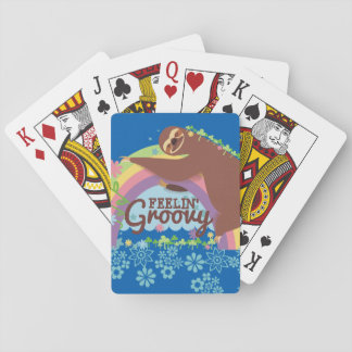 Feelin groovy funny sloth retro hippie rainbow playing cards