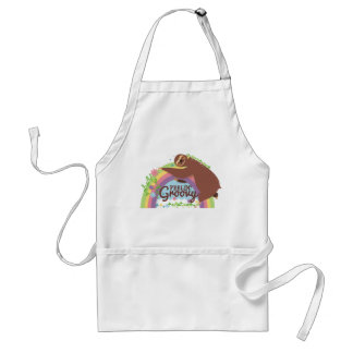 Feelin groovy funny sloth retro hippie rainbow standard apron