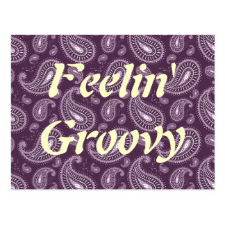 Feelin' Groovy Purple Paisley Postcard
