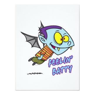 "feeling batty funny vampire kid toon 6.5"" x 8.75"" invitation card"